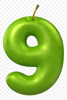 Zielone jabłko alfabet numer 9 na białym tle