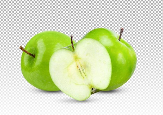 Zielone jabłko z plastrami na białym tle