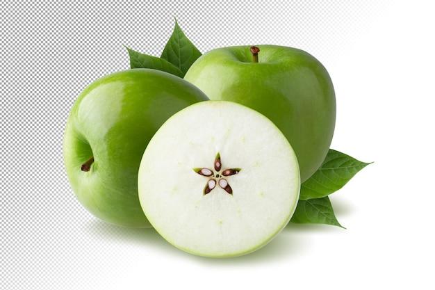 Zielone jabłko z zielonym liściem i pokrojonym plasterkiem z izolowanym nasionem