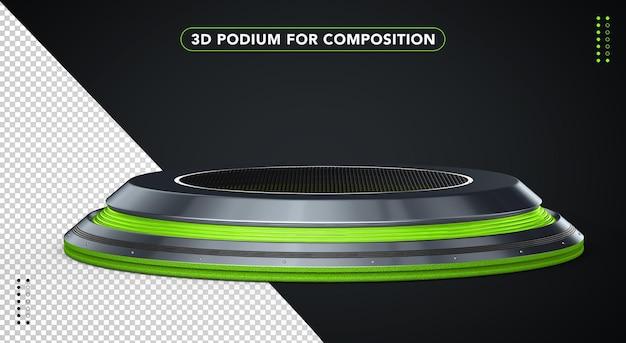 Zielone realistyczne podium w renderowaniu 3d