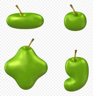 Zielone symbole alfabetu jabłko na białym tle