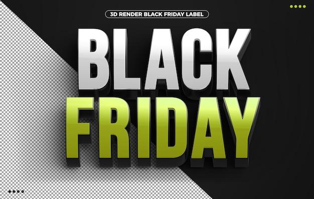 Zielony czarny piątek logo 3d na białym tle na czarnym tle