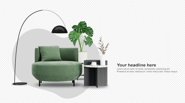 Zielony fotel i roślina monstera w renderowaniu 3d