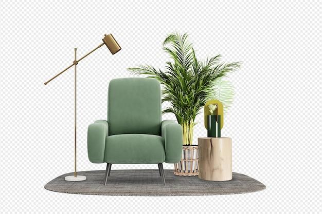 Zielony fotel i roślina w renderowaniu 3d
