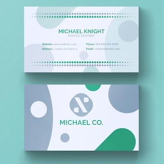 Zielony i szary minimalne wizytówka