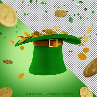 Zielony kapelusz i złote monety do renderowania na dzień św. patryka