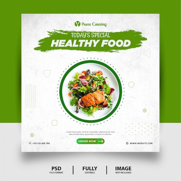 Zielony kolor zdrowej żywności social media post banner