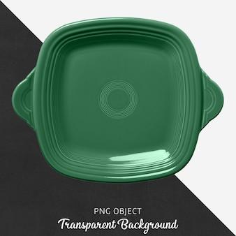 Zielony kwadrat naczynia na przezroczystym tle