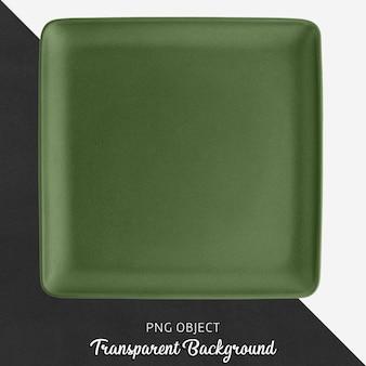 Zielony kwadratowy ceramiczny talerz na przejrzystym tle