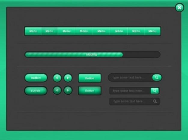 Zielony opakowań elementy interfejsu użytkownika