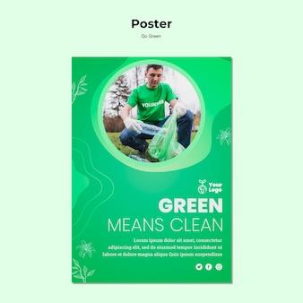 Zielony oznacza czysty szablon plakatu