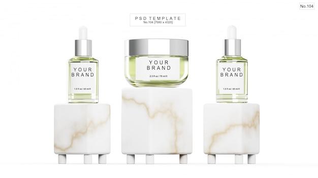 Zielony produkt kosmetyczny z kamieniem marmurowym na białym tle