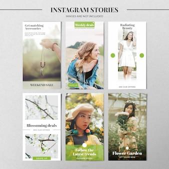 Zielony szablon historii na instagramie