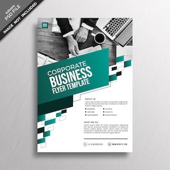 Zielony turkusowy geometria biznes styl ulotki szablon projektu