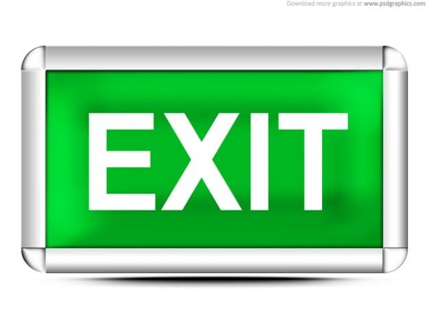 Zielony znak wyjścia (psd)
