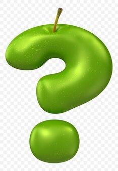 Zielony znak zapytania alfabetu jabłko na białym tle