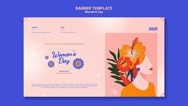 Zilustrowano piękny poziomy baner na dzień kobiet