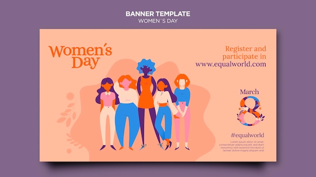Zilustrowano piękny poziomy baner szablon dzień kobiet