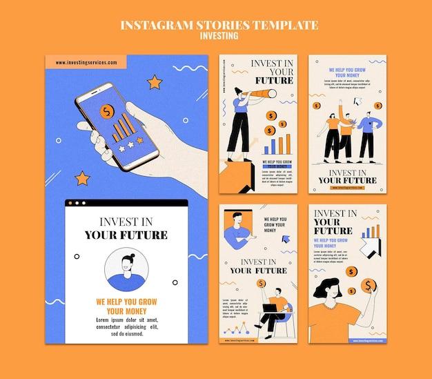 Zilustrowano szablon historii inwestycyjnej na instagramie
