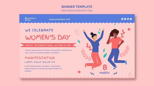 Zilustrowany piękny szablon transparent dzień kobiet