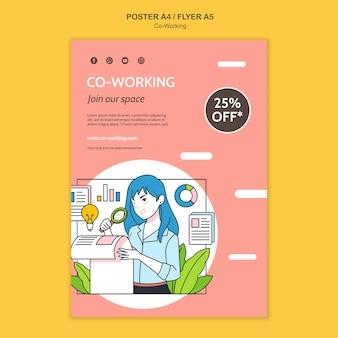 Zilustrowany szablon do druku coworkingowego