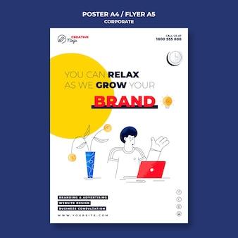 Zilustrowany szablon korporacyjnego plakatu