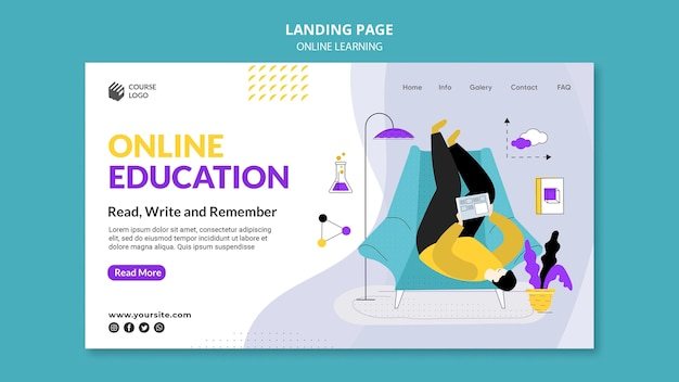 Zilustrowany szablon strony docelowej e-learningu