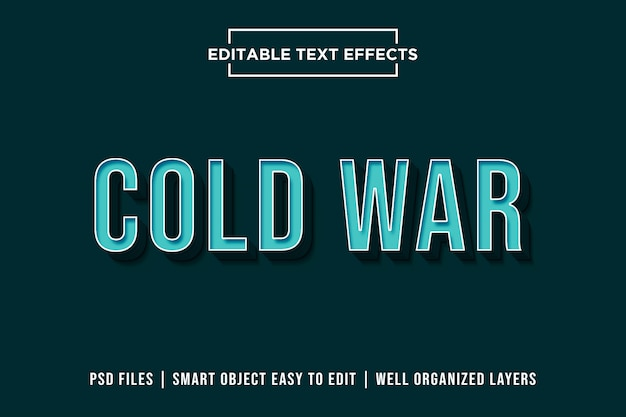 Zimna wojna - efekt 3d blue text premium psd