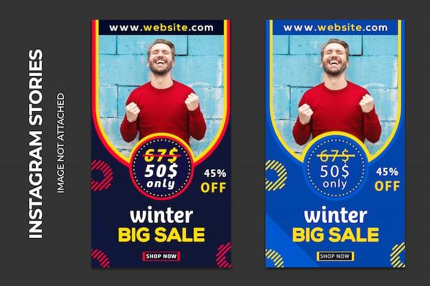 Zimowa sprzedaż banerów społecznościowych premium