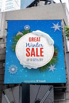Zimowa sprzedaż billboard znak