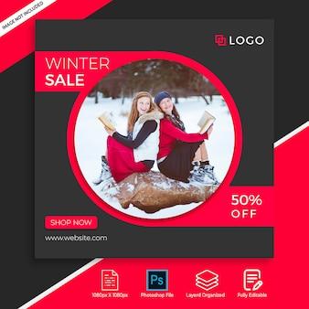 Zimowa wyprzedaż instagram kolekcja postów