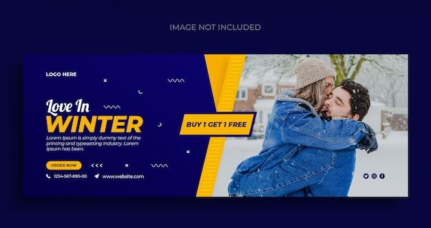 Zimowa wyprzedaż mody ulotka z banerami społecznościowymi i szablon okładki na facebooka