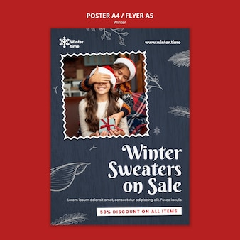 Zimowy sweter na wyprzedaży szablon plakatu
