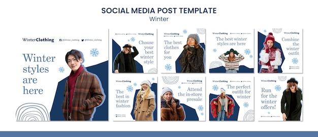 Zimowy szablon projektu postów w mediach społecznościowych