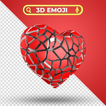 Złamane serce renderowania 3d emoji na białym tle