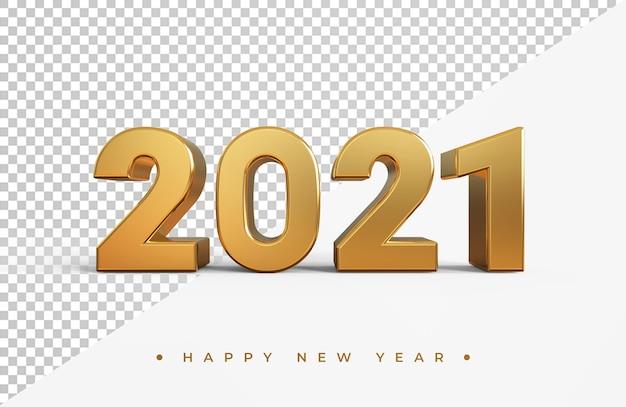 Złota 2021 nowy rok renderowania 3d na białym tle