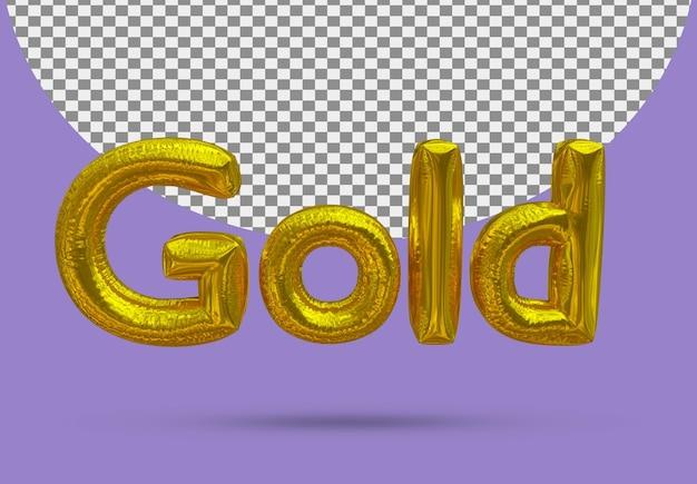 Złota folia złoty balon realistycznego 3d na białym tle
