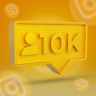 Złota ikona 3d na instagramie 10 000 obserwujących