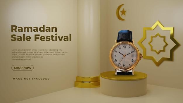 Złota luksusowa makieta na podium z ramadanem 3d