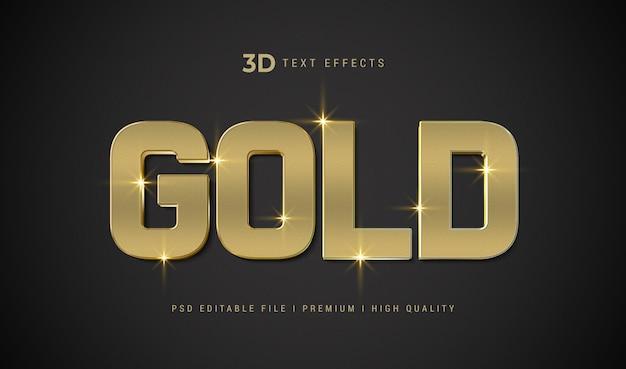 Złota makieta efektu stylu tekstu 3d