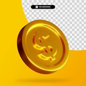 Złota moneta 3d renderowania na białym tle