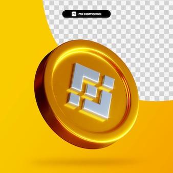 Złota moneta binance renderowania 3d na białym tle