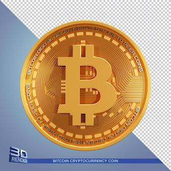 Złota moneta bitcoin kryptowaluta renderowania 3d na białym tle