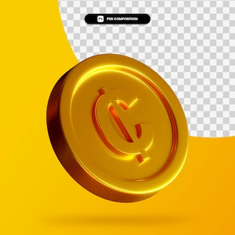 Złota moneta cedi renderowania 3d na białym tle