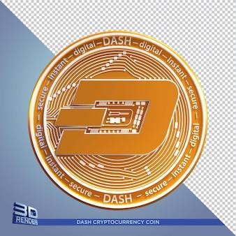 Złota moneta dash kryptowaluta renderowania 3d na białym tle