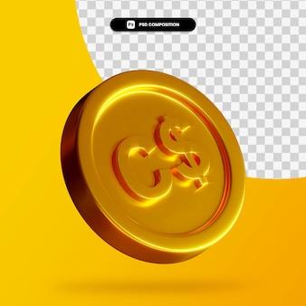 Złota moneta dolara kanadyjskiego renderowania 3d na białym tle