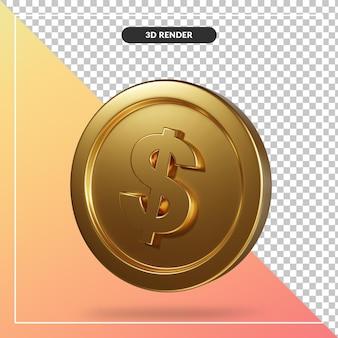 Złota moneta dolara renderowania 3d na białym tle
