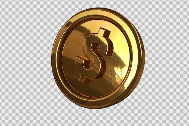 Złota moneta dolara w renderowaniu 3d na białym tle