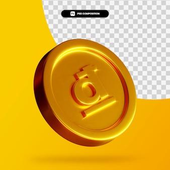 Złota moneta dong renderowania 3d na białym tle