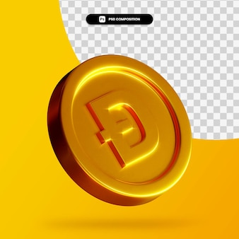 Złota moneta doża renderowania 3d na białym tle